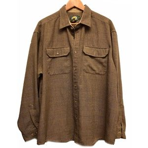 Cabelas Men's Tan Plaid Button Down Shirt XL